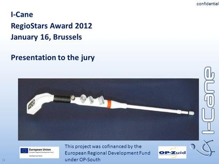 H I-Cane RegioStars Award 2012 January 16, Brussels Presentation to the jury This project was cofinanced by the European Regional Development Fund under.