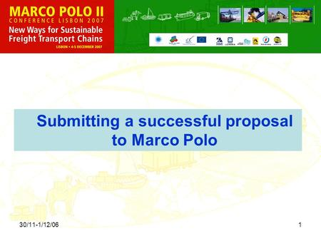 30/11-1/12/061 Submitting a successful proposal to Marco Polo.
