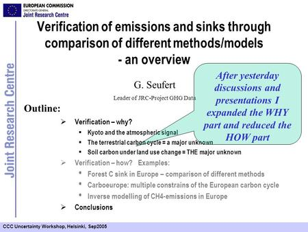 CCC Uncertainty Workshop, Helsinki, Sep2005 Verification of emissions and sinks through comparison of different methods/models - an overview Verification.