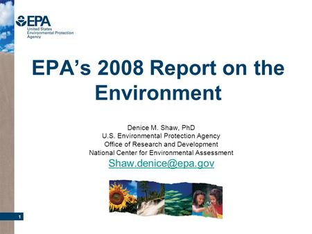 1 EPAs 2008 Report on the Environment Denice M. Shaw, PhD U.S. Environmental Protection Agency Office of Research and Development National Center for Environmental.