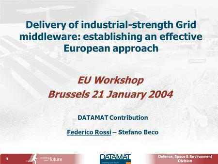 1 Defence, Space & Environment Division Delivery of industrial-strength Grid middleware: establishing an effective European approach EU Workshop Brussels.