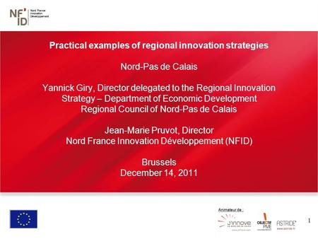 1 Practical examples of regional innovation strategies Nord-Pas de Calais Yannick Giry, Director delegated to the Regional Innovation Strategy – Department.