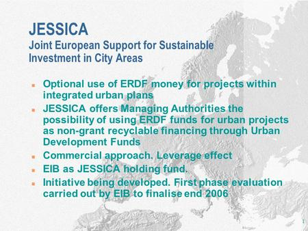 Optional use of ERDF money for projects within integrated urban plans