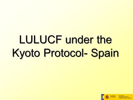 LULUCF under the Kyoto Protocol- Spain. Definitions Forest definition: Minimum area: 1 ha Tree crown cover: 20% Minimum tree height: 3 m Additional Activities.