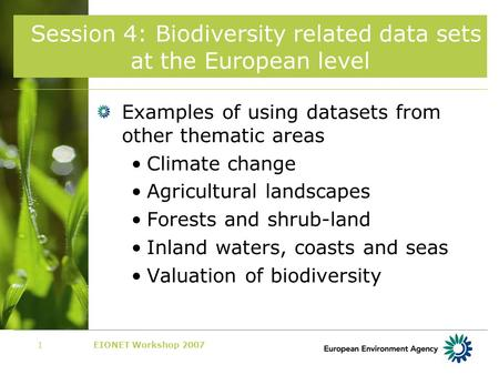 EIONET Workshop 20071 Session 4: Biodiversity related data sets at the European level Examples of using datasets from other thematic areas Climate change.