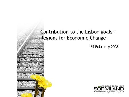 Contribution to the Lisbon goals - Regions for Economic Change 25 February 2008.