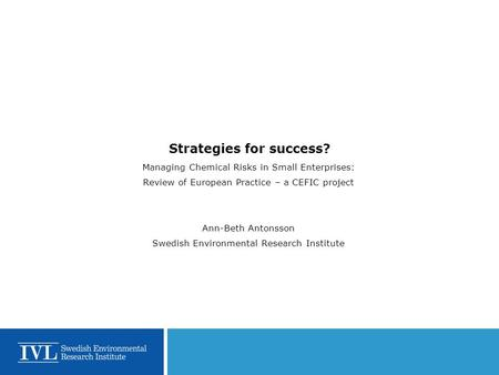 Strategies for success? Managing Chemical Risks in Small Enterprises: Review of European Practice – a CEFIC project Ann-Beth Antonsson Swedish Environmental.