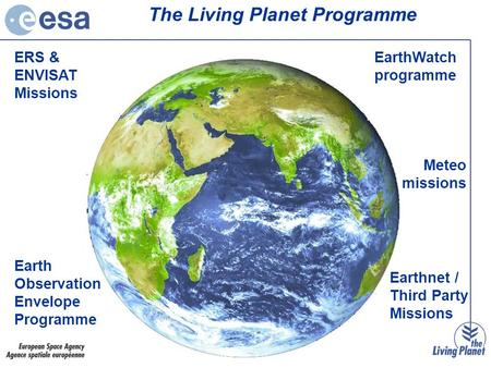 Earth Observation Envelope Programme Earthnet / Third Party Missions EarthWatch programme ERS & ENVISAT Missions The Living Planet Programme Meteo missions.