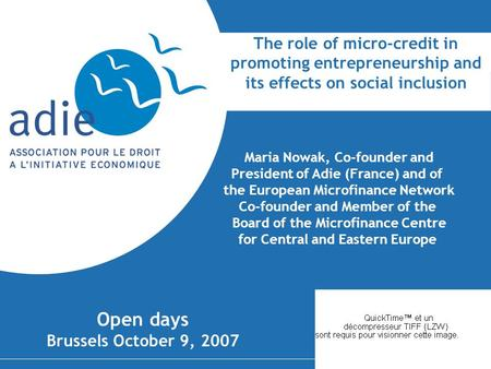 Maria Nowak, Co-founder and President of Adie (France) and of
