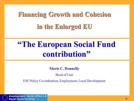 1 -1- Financing Growth and Cohesion in the Enlarged EU Financing Growth and Cohesion in the Enlarged EU Marie C. Donnelly Head of Unit ESF Policy Co-ordination,