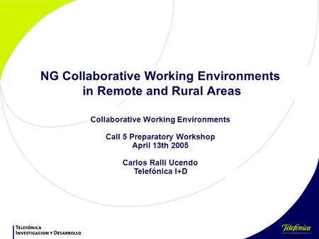 NG Collaborative Working Environments in Remote and Rural Areas Collaborative Working Environments Call 5 Preparatory Workshop April 13th 2005 Carlos Ralli.