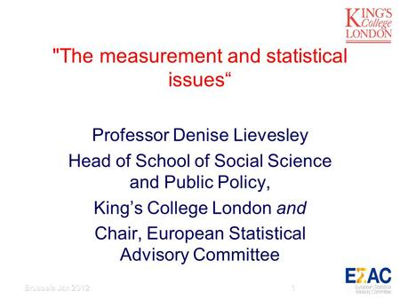 The measurement and statistical issues Professor Denise Lievesley Head of School of Social Science and Public Policy, Kings College London and Chair,