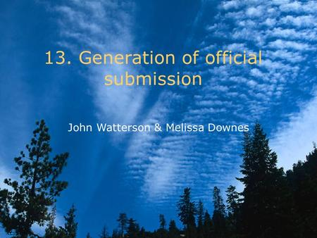 13. Generation of official submission John Watterson & Melissa Downes.