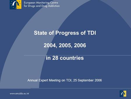 Annual Expert Meeting on TDI, 25 September 2006 State of Progress of TDI 2004, 2005, 2006 in 28 countries.