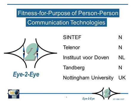 1 IST-1999-11577 2 2 Eye-2-Eye Fitness-for-Purpose of Person-Person Communication Technologies SINTEFN Instituut voor DovenNL TandbergN Nottingham UniversityUK.