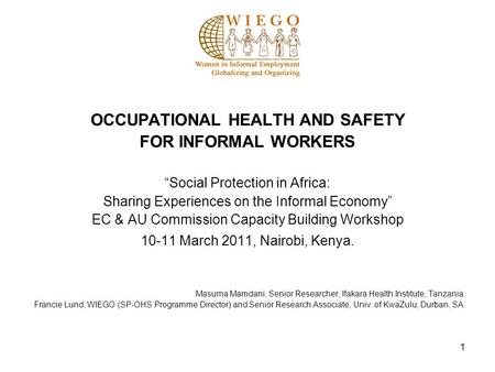 1 OCCUPATIONAL HEALTH AND SAFETY FOR INFORMAL WORKERS Social Protection in Africa: Sharing Experiences on the Informal Economy EC & AU Commission Capacity.