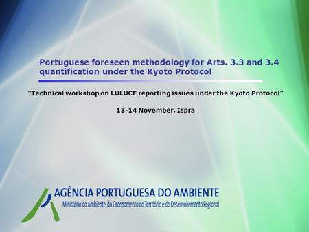 Portuguese foreseen methodology for Arts. 3.3 and 3.4 quantification under the Kyoto Protocol Technical workshop on LULUCF reporting issues under the Kyoto.