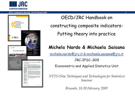 NTTS Conference, Brussels, 18-20 February 20091 OECD/JRC Handbook on constructing composite indicators- Putting theory into practice Michela Nardo & Michaela.