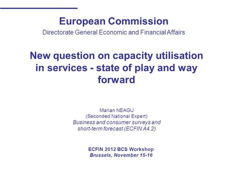 European Commission Directorate General Economic and Financial Affairs New question on capacity utilisation in services - state of play and way forward.