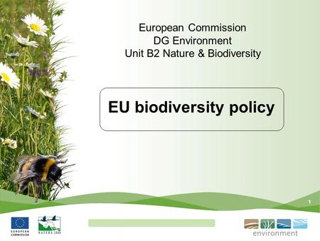 1 EU biodiversity policy European Commission DG Environment Unit B2 Nature & Biodiversity.