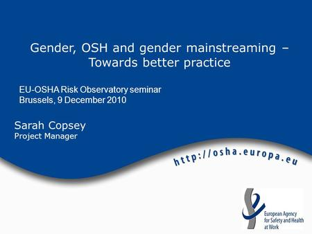 Sarah Copsey Project Manager Gender, OSH and gender mainstreaming – Towards better practice EU-OSHA Risk Observatory seminar Brussels, 9 December 2010.