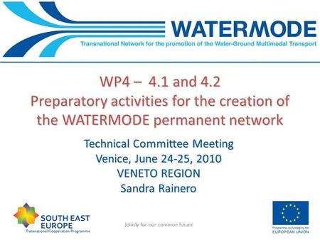 WP4 – 4.1 and 4.2 Preparatory activities for the creation of the WATERMODE permanent network 1 Technical Committee Meeting Venice, June 24-25, 2010 VENETO.