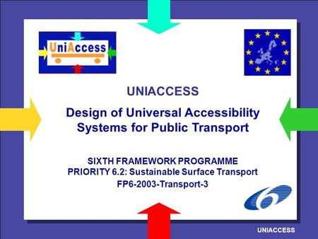 UNIACCESS Design of Universal Accessibility Systems for Public Transport SIXTH FRAMEWORK PROGRAMME PRIORITY 6.2: Sustainable Surface Transport FP6-2003-Transport-3.