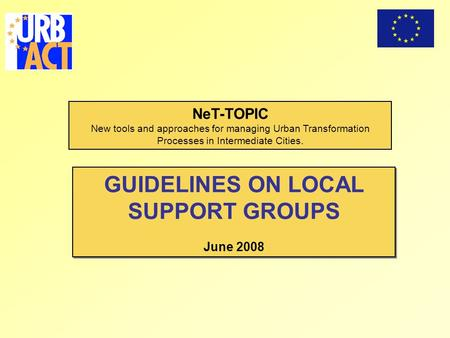 NeT-TOPIC New tools and approaches for managing Urban Transformation Processes in Intermediate Cities. GUIDELINES ON LOCAL SUPPORT GROUPS June 2008 GUIDELINES.