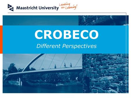CROBECO Different Perspectives. Faculteit der Rechtsgeleerdheid / Faculty of Law Different Perspectives I. Introduction –Different perspectives Technical.