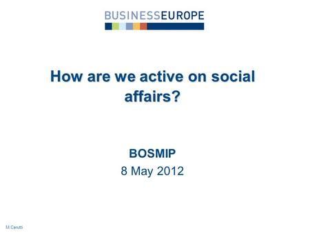 BOSMIP 8 May 2012 How are we active on social affairs? M.Cerutti.