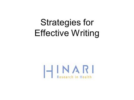 Strategies for Effective Writing.  (accessed 08/20/09)