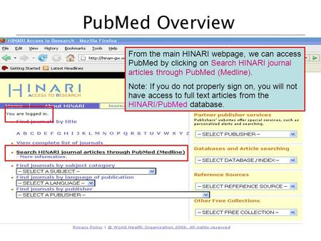 PubMed Overview From the main HINARI webpage, we can access PubMed by clicking on Search HINARI journal articles through PubMed (Medline). Note: If you.