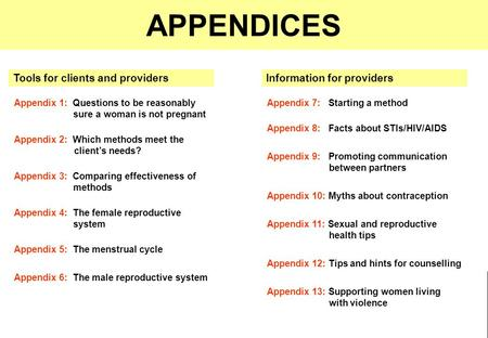 APPENDICES Appendix 1: Questions to be reasonably sure a woman is not pregnant Appendix 2: Which methods meet the clients needs? Appendix 3: Comparing.
