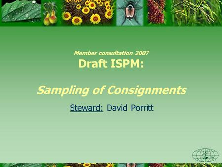 Member consultation 2007 Draft ISPM: Sampling of Consignments Steward: David Porritt.