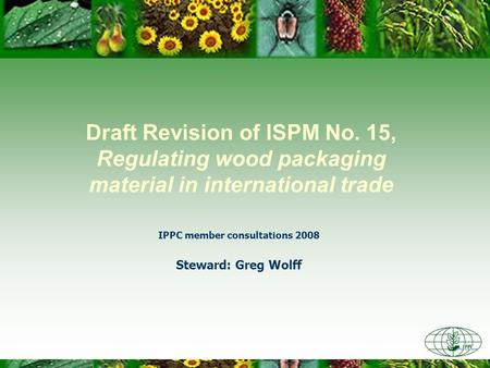 Draft Revision of ISPM No. 15, Regulating wood packaging material in international trade IPPC member consultations 2008 Steward: Greg Wolff.