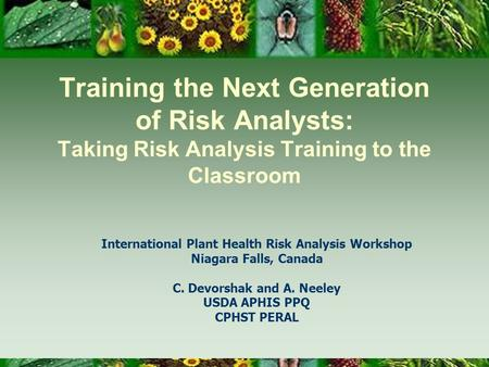 Training the Next Generation of Risk Analysts: Taking Risk Analysis Training to the Classroom International Plant Health Risk Analysis Workshop Niagara.