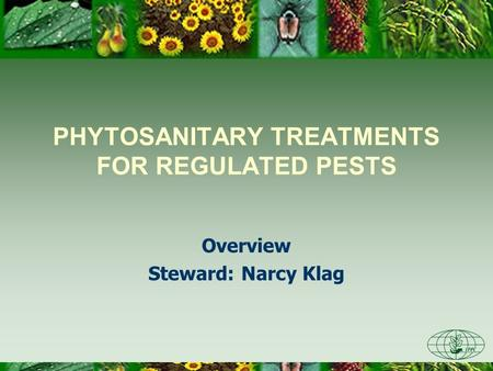 PHYTOSANITARY TREATMENTS FOR REGULATED PESTS Overview Steward: Narcy Klag.