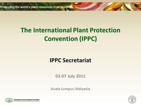The International Plant Protection Convention (IPPC) IPPC Secretariat 03-07 July 2011 Kuala Lumpur, Malyasia.