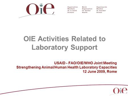 OIE Activities Related to Laboratory Support USAID - FAO/OIE/WHO Joint Meeting Strengthening Animal/Human Health Laboratory Capacities 12 June 2009, Rome.
