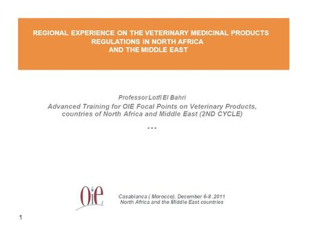 1 Professor Lotfi El Bahri Advanced Training for OIE Focal Points on Veterinary Products, countries of North Africa and Middle East (2ND CYCLE) … REGIONAL.