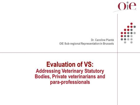 Evaluation of VS: Addressing Veterinary Statutory Bodies, Private veterinarians and para-professionals Dr. Caroline Planté OIE Sub-regional Representation.