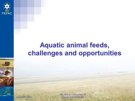 FEFAC OIE Global Conference on Aquatic Animal Health June 28 th, 2011 1 Aquatic animal feeds, challenges and opportunities.