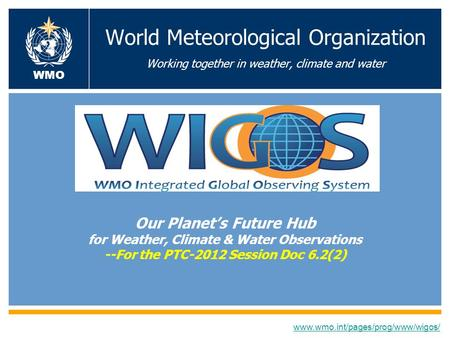 World Meteorological Organization Working together in weather, climate and water Our Planets Future Hub for Weather, Climate & Water Observations --For.