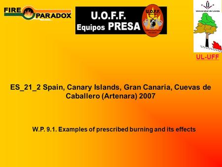 ES_21_2 Spain, Canary Islands, Gran Canaria, Cuevas de Caballero (Artenara) 2007 W.P. 9.1. Examples of prescribed burning and its effects UL-UFF.