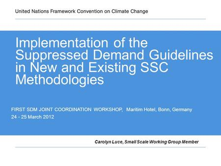 Implementation of the Suppressed Demand Guidelines in New and Existing SSC Methodologies Carolyn Luce, Small Scale Working Group Member FIRST SDM JOINT.