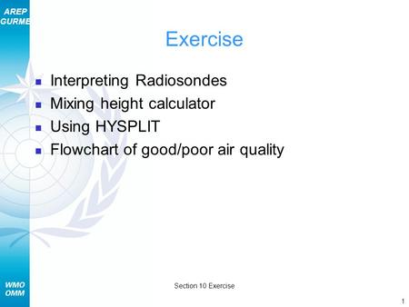 AREP GURME 1 Section 10 Exercise Exercise Interpreting Radiosondes Mixing height calculator Using HYSPLIT Flowchart of good/poor air quality.
