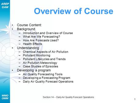 AREP GAW Section 14 – Daily Air Quality Forecast Operations 1 Overview of Course Course Content: Background –Introduction and Overview of Course –What.