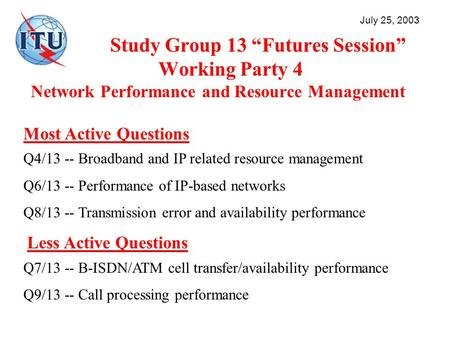 Study Group 13 Futures Session Working Party 4 Network Performance and Resource Management July 25, 2003 Most Active Questions Q4/13 -- Broadband and IP.