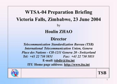 TSB 1 WTSA-04 Preparation Briefing Victoria Falls, Zimbabwe, 23 June 2004 by Houlin ZHAO Director Telecommunication Standardization Bureau (TSB) International.
