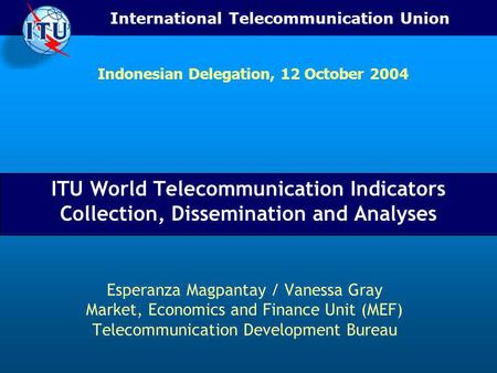 International Telecommunication Union ITU World Telecommunication Indicators Collection, Dissemination and Analyses Esperanza Magpantay / Vanessa Gray.